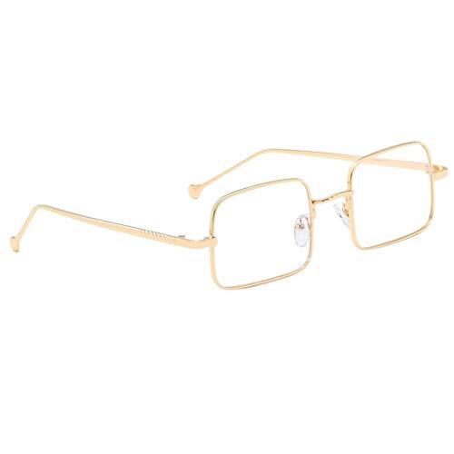 Baoblaze Metallrahmen Vintage Rechteckige Sonnenbrille Eyewear Shade - Gold Klar