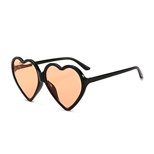 Yangjing-hl Liebe Sonnenbrille Trend Pfirsich Herz Siamese Marine Sonnenbrille gelb schwarz Rahmen