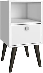 BRV MÓVEIS Wood Side Table, BPP 01-129, White/Pinion Feet, H36.8 x D15 x W42.8 cm, Require Assembly