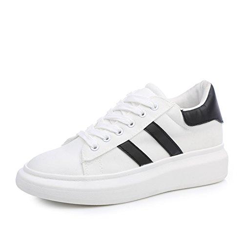 Primavera ed estate dal fondo pesante scarpe sportive bianche/scarpe di tela Lace-up/scarpe da corsa all'interno della più alta/scarpe casual studenti-B Lunghezza piede=24.3CM(9.6Inch)