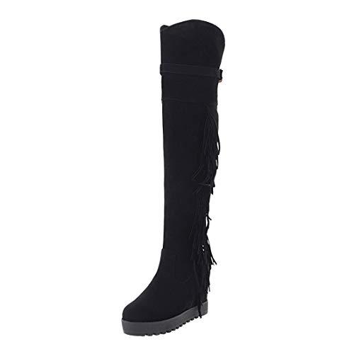 UH Damen Keilabsatz Overknee Stiefel mit Fransen und Fell Schnalle Bequeme Warm Herbst Winter Schuhe