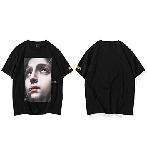Männer Harajuku Lustige kleine Mädchen Hip Hop T-Shirts Streetwear Sommer Kurzarm Baumwolle Tops Tees Schwarz Weiß Black L -