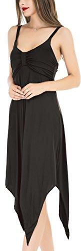 Damen Elegantes Sommer Kleid mit Tiefem V-Ausschnitt Langes Strandkleid ohne Ärmeln Schwarz