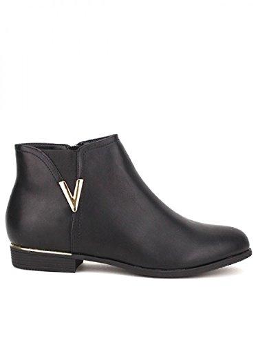 Cendriyon, Bottine Noire Mode V Doré Chaussures Femme Noir