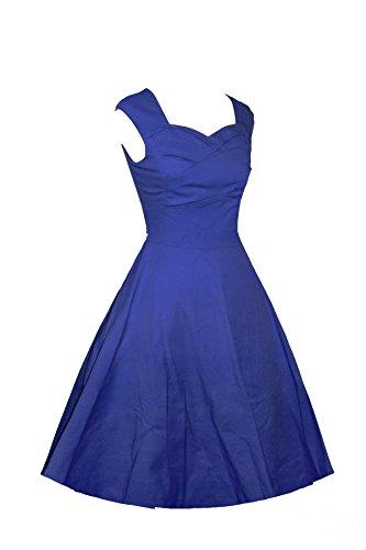 LOBTY 6 Faben EU 32-42 Damen Rockabilly Tupfen Dress 50er 60er Jahre Vintage-Kleid Hepburn Retro Audrey Knielang Kleid Ohnearm Dunkel Blau