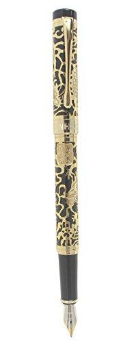 Sipliv 3d de metal pluma estilográfica grabado dragón - negro y oro