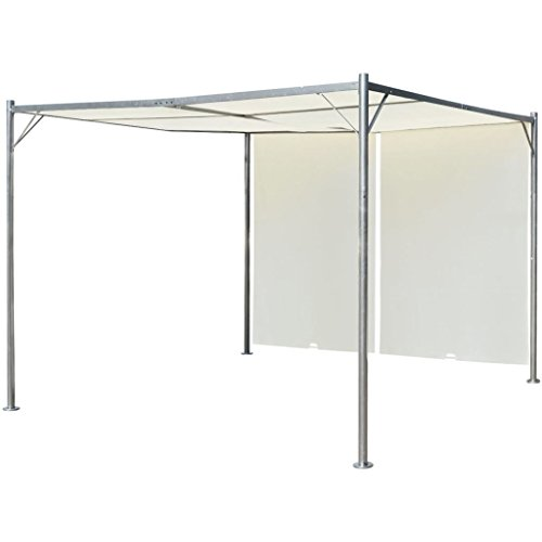 vidaXL Pérgola con techo retráctil blanco crema acero 3x3 m