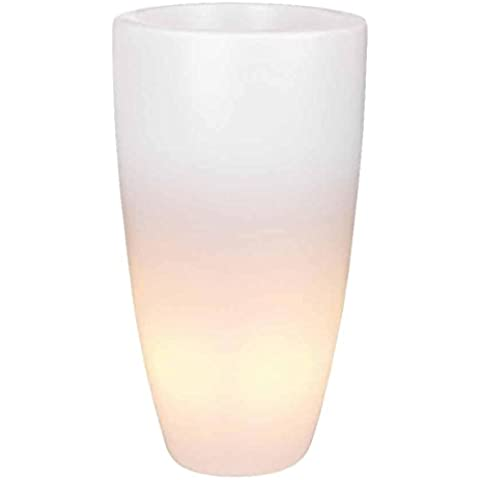 Elho vaso per fiori con illuminazione LED Pure Soft, alto, rotondo, 50cm, trasparente
