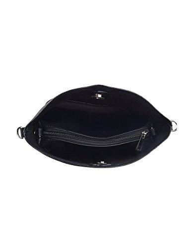 Douguyan Fashion Kunstleder Klein Einkaufstasche Uni Shoppen Tasche Damen Mädchen Frauen Handtasche Umhängetasche Shopper Schwarz E00278 7-schwarz