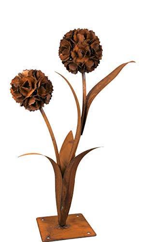 Pusteblume aus Edelrost | Deko-Blume aus Metall für den Garten | H 90cm | 2 Blüten