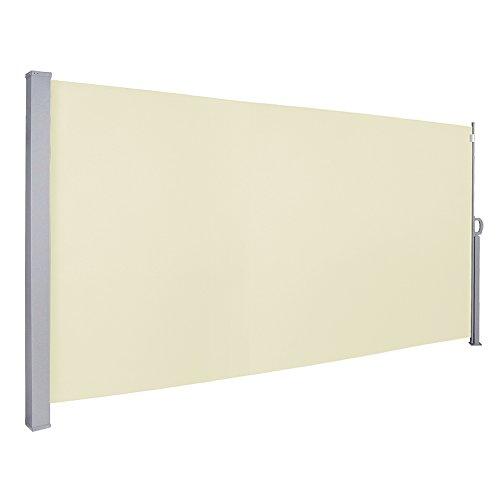 VINGO 180 x 300 cm Seitenmarkise Beige TÜV,Reißfestigkeit,seitlicher Sichtschutz sichtschutz,geprüft UV,für Balkon Terrasse ausziehbare markise