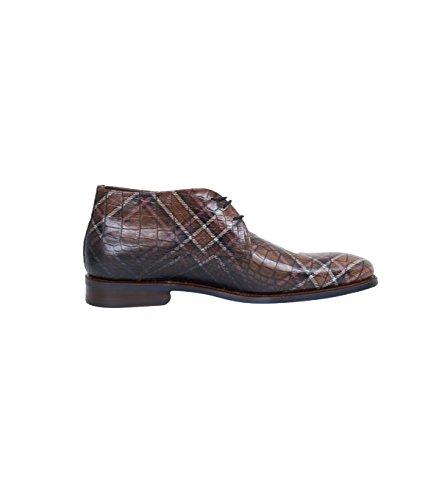 Messieurs Floris Van Bommel Chaussures en gemusterter Croco-01Dark Brown Croco 01 dark brown croco