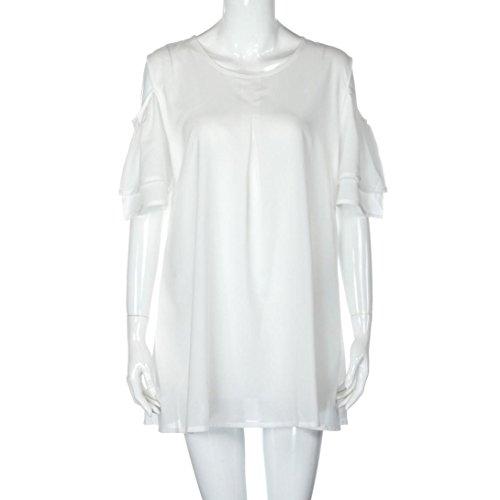 Sommer Amlaiworld damen Chiffon Übergroß kleider elegant locker Plissee Kleid mode Kurz kleidung Für party Weiß