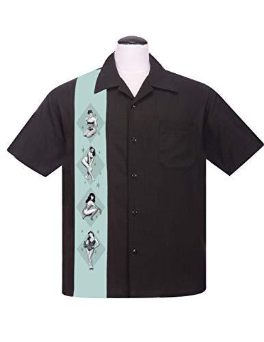Steady Clothing Herren Vintage Bowling Hemd - Bettie Page Pin-Up Bowling Shirt XXL