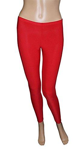 Islander Fashions Womens Microfiber Crazy Chick Neon Legging Ladies Gym Abbigliamento da ballo Stretch Pants S / XL Red