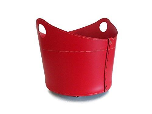 CADIN: Holzkorb Leder, aus recyceltem Leder (regenerated, nicht Kunstleder) Farbe Rot, mit 4 gummierten Räder.