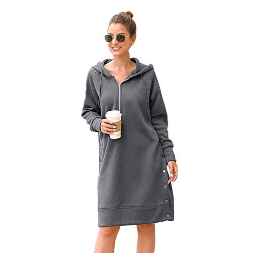 Modfine Damen Winter Herbst Kapuzenpullover Pullover mit Taschen Hoodie Long unifarben