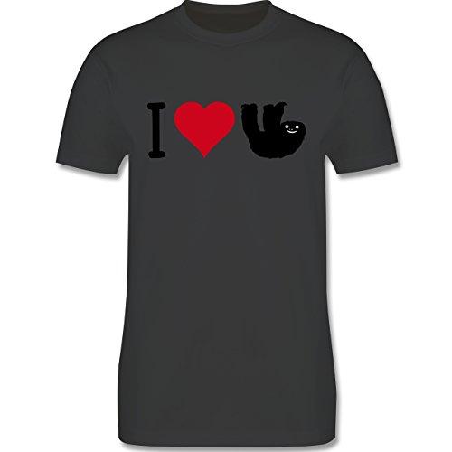 Tiermotive - I love Faultiere - L190 - Premium Männer Herren T-Shirt mit Rundhalsausschnitt Dunkelgrau