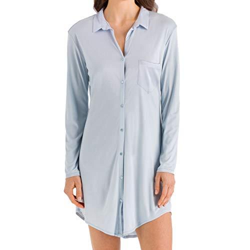 Hanro - Grand Central - Damen Nachthemd Boyfriend Shirt - Micro-Modal - Seide - 90 cm lang - Langarm (XL, Ice Blue)