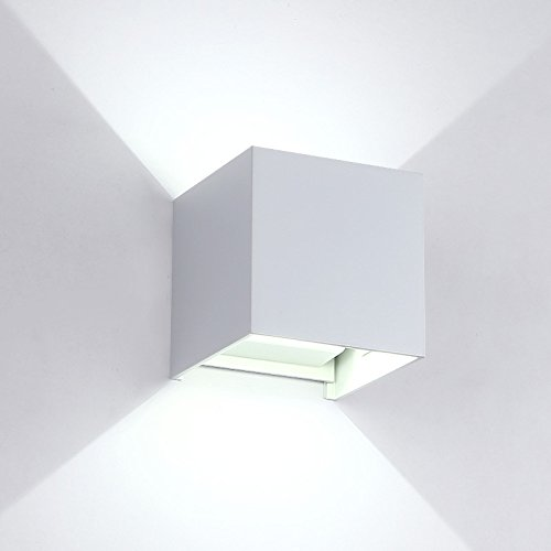 Outdoor light Wandleuchte Im Freien Wasserdichte IP65 Moderne Nordische Stil Innenwand Lampe 6W LED Wohnzimmer Veranda Garten Lampe,WhiteSquare-6W (Im Freien Outdoor-lampe Stil)