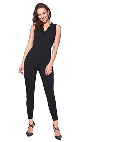 KRISP Damen Anzug Hosenanzug Jumpsuit mit Spitze und Ausschnitt (Schwarz, Gr.S) (3062-BLK-S)