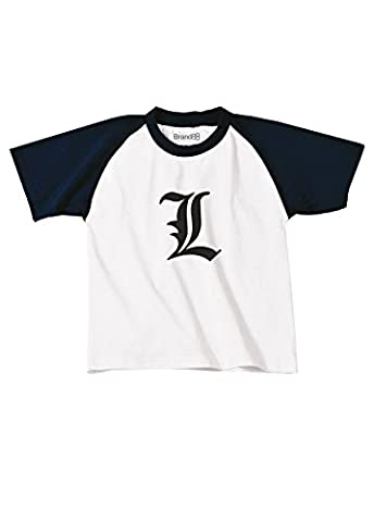Death Note L, Manga, Detective, L Change the World Inspired T-shirt pour enfants de baseball - Blanc/Bleu Marine/Noir 12-14