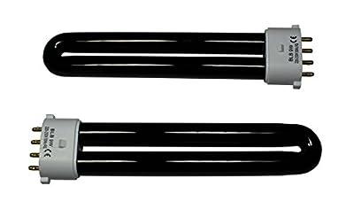 2 x DuraBulb® 9 Watt long-life UV Blacklight Bulb Ultraviolet 4-Pin Tubes for 9W Fake Money Detectors & Bank Note Checkers by DuraBulb