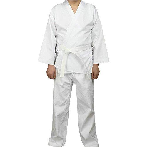 G-like Karate Judo Anzug Kleidung - Kampfkunst Judogi Aikido Keikogi Jiu Jitsu Taekwondo Bando Kung Fu Outfit Training Uniform Kostüm Set Jacke Hose Freier Gürtel für Männer Frauen Kinder (180 cm) (Kinder Fett Mann Kostüm)