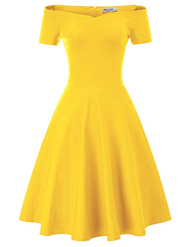 GRACE KARIN Robe Année 50 60 Vintage Femme Robe Rockbilly Pin-up Couleur Unie Jaune 2XL CL020-6