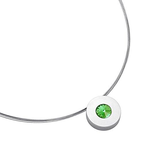 Heideman Halskette Damen Lumen aus Edelstahl Silber farbend matt Kette für Frauen mit Swarovski Stein Kristall Peridot grün im Fantasie Edelsteinschliff 10mm