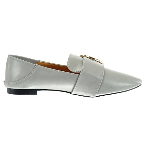 Angkorly - Zapatos De Moda Mocasines Con Cordones De Las Mujeres Hebilla De Oro Block Heel 1 Cm Gris