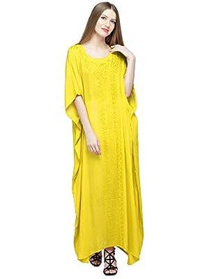 SKAVIJ Womens Soft Beach Cover Up Embroidered Rayon Long Kaftan Maxi Dress