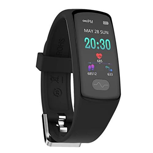 RHBKW Fitness Tracker IP67 Wasserdicht Sport,Touchscreen-Smartwatch mit Herzfrequenz Schlaf Monitor Fitness Uhr mit Schrittzähler Kompatibel mit Android iOS zum Laufen,Black