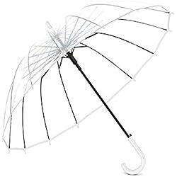 Lancoon Paraguas De Burbuja Transparente, 16 Costillas De Fibra De Vidrio TamañO Grande A Prueba De Viento AutomáTico Abierto Transparente KS10White