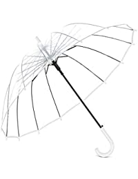 Lanker KS10P - Paraguas de Burbujas Transparente, 16 Varillas de Fibra de Vidrio de Gran