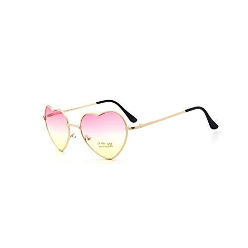 Sport-Sonnenbrillen, Vintage Sonnenbrillen, Fashion Heart Shaped Sunglasses Women Metal Clear Red Lens Glasses Fashion Heart Sun Glasses Spiegel Oculos De Sol C1 pink