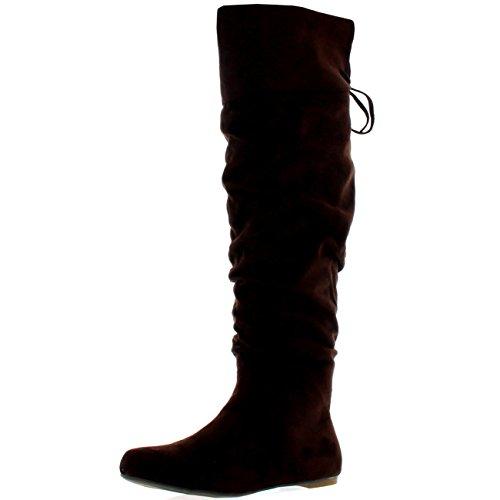 Donna Equitazione Coscia Alta Inverno Scarpe Moda Alto Pirata Stivali Marrone Camoscio