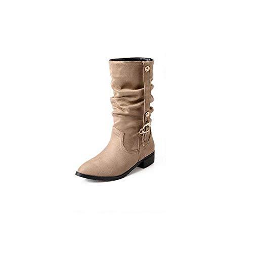 Frauen Casual Stiefel Herbst- und Wintergrößencode wies dick mit niedriger Absatzmode Wilde Damenstiefel, Aprikose, 43 auf Casual Stiefel