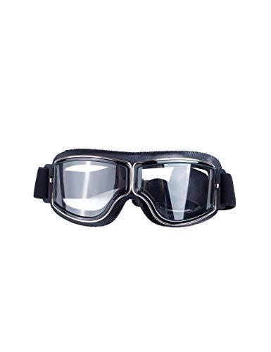 MOKAYA Klassisch PU Leder Motorradbrille Schutzbrille Aviator Vintage Pilot Biker Cruiser Pilot Fliegerbrille Motocross Helm Brille (Frame:Schwarz Leather,Lens:Transparent)