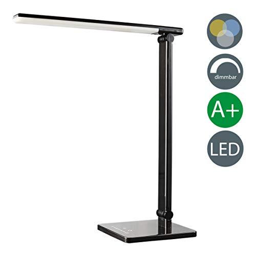 Lampada da tavolo LED touch, lampada da scrivania dimmerabile su più livelli, luce regolabile calda, neutra o fredda, da comodino, plastica nera, 230V, 500lm