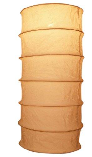 Guru-Shop Faltbarer Lampenschirm/Deckenlampe/Deckenleuchte Tube, Handgemacht in Bali, Baumwolle, Natur-weiß, Baumwollstoff, Farbe: Natur-weiß, 50x26x26 cm, Bali Deckenleuchten