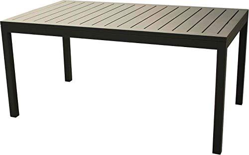 Amicasa. Mesa de jardín Extensible de Aluminio 202/263 x 100 cm, Color Antracita, Modelo Milos