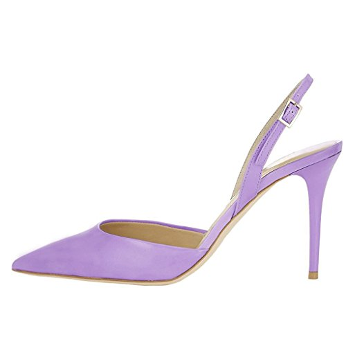 EKS Damen Spitze Gurt Stilett Mid Heels Sandalen Lila