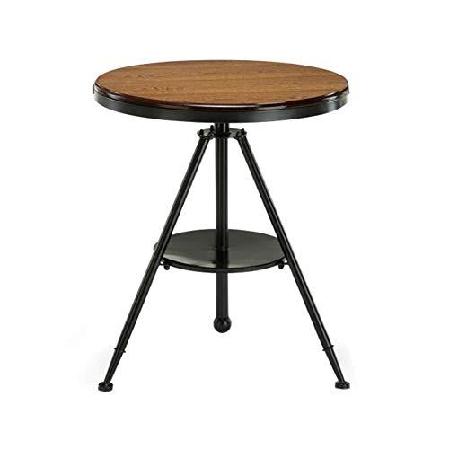 Tables CJC Rétro Industriel, Hauteur Ajustement Faire Pivoter Rond, Côté Café La De Nuit Chevet Fin Lampe, Meubles (Couleur : Noir)