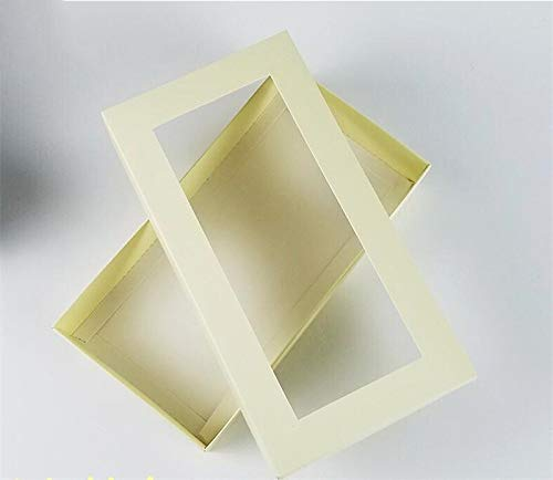 10 pezzi nero finestra regalo di caramella di mano scatole di cartone bianco regalo fatto a mano sapone Imballaggio scatola di carta con finestra (Color : White, Gift Box Size : 21x11x3.5CM)