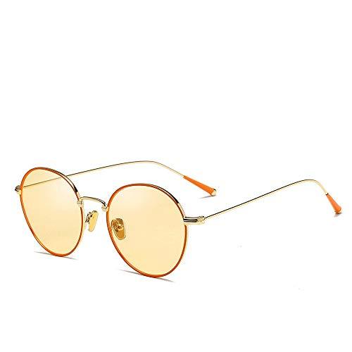 Sonnenbrille Metallrahmen Unisex Aviator Spiegel polarisierte Linse Sonnenbrille Brille (Farbe : Gelb, Größe : Casual Size)