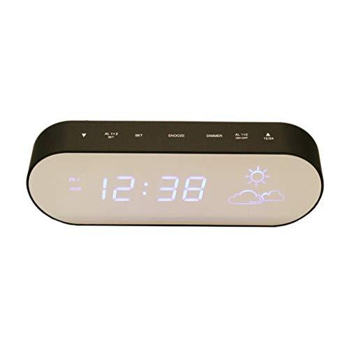Xinxinchaoshi Espejo Superficie Pronóstico del Tiempo LED Reloj Temperatura y Humedad en el Interior...