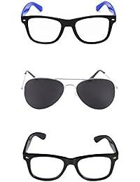 Amour-propre Aviator And Wayfarer Sunglasses Combo -Black And Blue Wayfarer & Black Aviator- Unisex