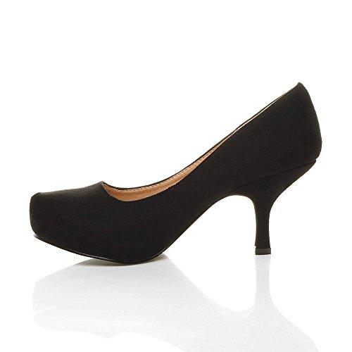 Femmes escarpins talon bas à moyen élégant travail soignée chaussures taille Daim noir