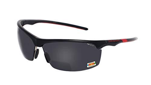 rainbow safety Sonnenbrille Polarisierte Bifokal Sportbrille mit Leseteil für Radler Baseball Laufen Angeln Golf Softball Wandern PRO P (BLK-RED +2.50D)
